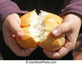criança, fraturas, pedaço, pão,...