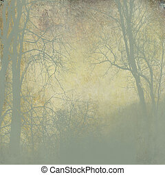 grunge green forest with fog on golden background - vintage...