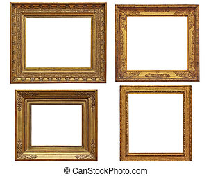 four classical empty golden frames - isolated on white