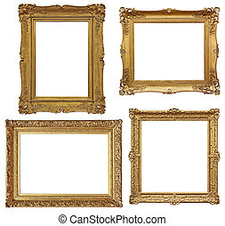 four golden baroque empty frames - isolated on white