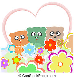 set teddy bear with many flowers and love heart