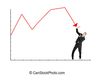 Scared businessman defend himself from falling graph,...