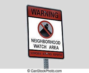 Neighborhood Crime Watch Sign - Crime watch sign at...