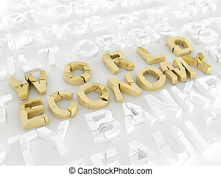 World economy crisis 3d broken words