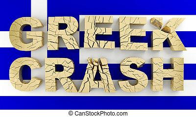 Greek crash broken 3d word on flag of Greece