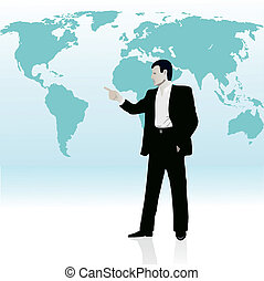Businessman near the wold`s map