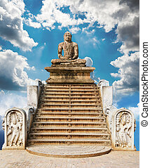 steps to the statue of Buddha with the guardians of the...