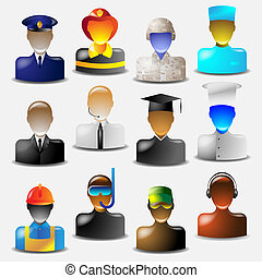 icons occupations - Set of glass icons occupations.Vector...