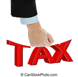 Fighting with big taxes. - Businessman fit strikes big TAX,...