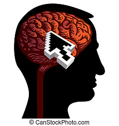 human head with brain isolated illustration