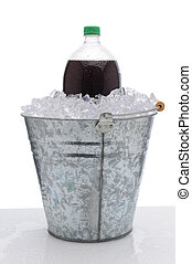 Large Soda Bottle in Ice Bucket