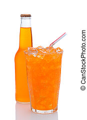 Glass of Orange Soda With Drinking Straw and Bottle - A cold...