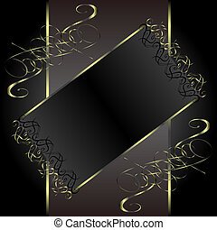vector vintage gold floral frame with damask background