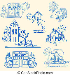 Hand Drawn Houses Icon Set - hand drawn house and shops icon...