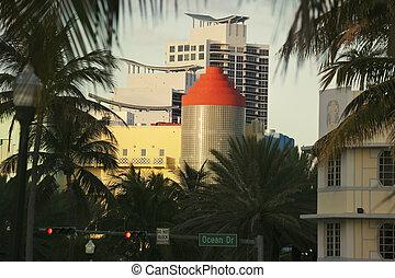Colorful art deco architecture of Miami Beach - Colorful art...