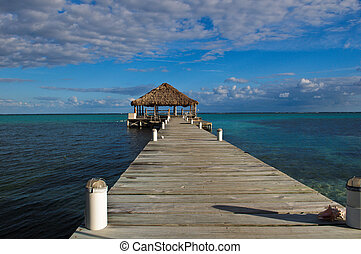 Beach Deck with Palapa floating in the water