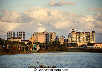West Palm Beach in Florida at sunset