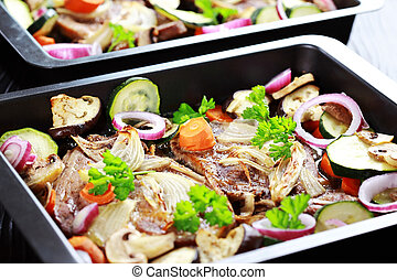 Baked pork meat with vegetable
