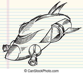 Doodle Vector Spaceship rocket
