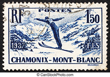 Postage stamp France 1937 Ski Jumper - FRANCE - CIRCA 1937:...