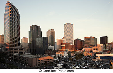 Sunset in New Orleans - Sunset in downtown fo New Orleans,...