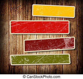 background with colorful boxes for text on wood background