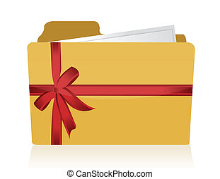 Yellow folder with red ribbon