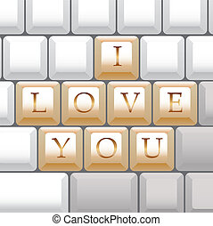 computer keyboard I Love You - illustration