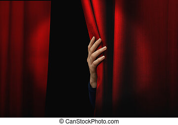 Opening red curtain - Girl open a red curtain