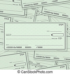Blank Check Pile Background with Open Space for Your Text -...