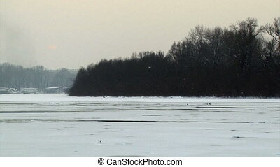The Danube river frozen, winter in Belgrade