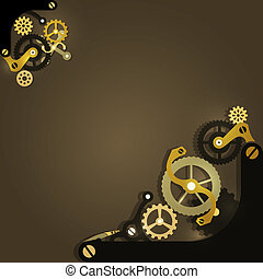 Steampunk mechanical background with gears