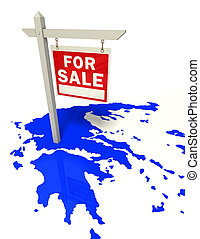 greece crisis conceptual image - greece blue map with red...