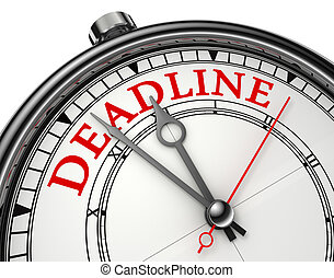 deadline concept clock closeup isolated on white background...