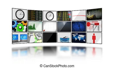 Digital screens. HD. Loop. Mask. - Many business videos on...