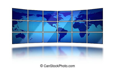 Global business HD Loop Mask - World map moving on screens...