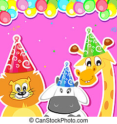Animal Birthday Party - illustration of animal with birthday...