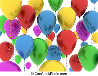 color balloons on white