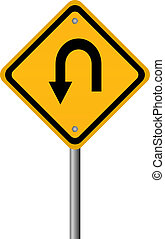 Turn back road sign, vector illustration
