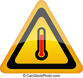 High temperature vector sign - High temperature warning...