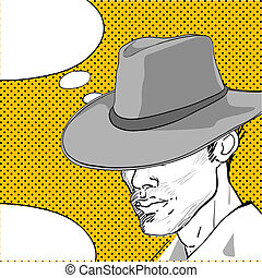 cowboy pop art dialog - comic style drawing of a man with a...