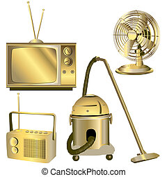 golden retro electric objects isolated on white