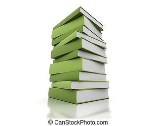books - green books isolated on white