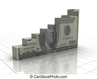 Money graph rising cash texture on white background