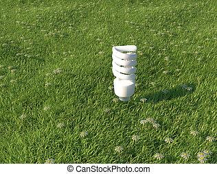 Light bulb on grass - Evironmental
