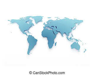 Blue business world map isolated on white