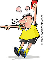 soccer referee - cartoon soccer referee pointing and holding...