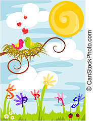 Spring time, love in the air. - Beauty colorful vector...