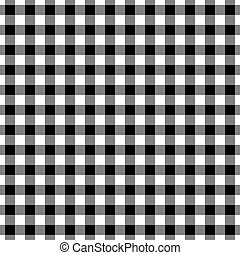 Black and White Gingham Plaid - Seamless black and white...