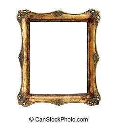 antique frame with womans portrait Isolated image